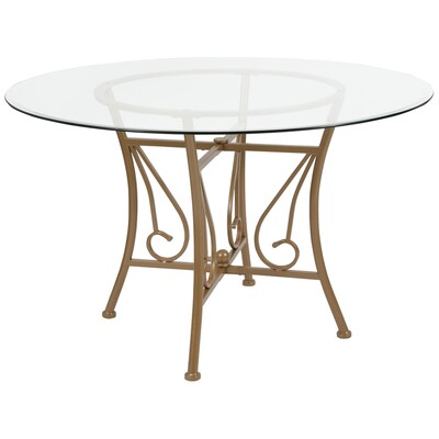 Flash Furniture Princeton Glass Round Dining Table At