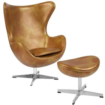 Groovy Flash Furniture Gold Leather Egg Chair With Tilt Lock Frankydiablos Diy Chair Ideas Frankydiabloscom