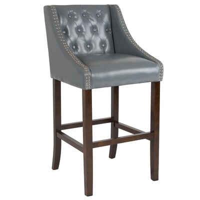 Magnificent Flash Furniture Carmel Series Light Gray Leather Bar Stool Gmtry Best Dining Table And Chair Ideas Images Gmtryco