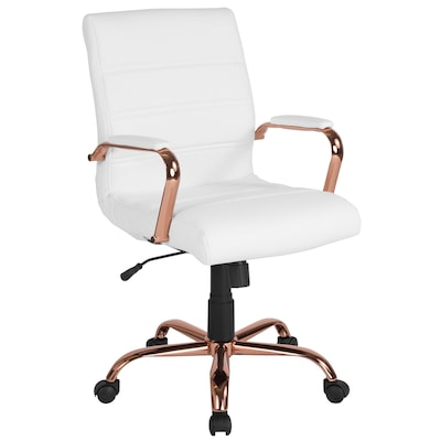 Flash Furniture Mid-Back White Leather Executive Swivel
