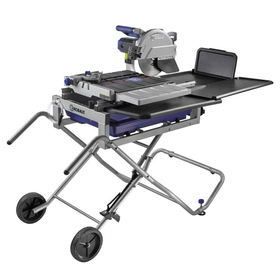 Shop Kobalt 10 In Wet Dry Tabletop Sliding Table Tile Saw With Stand At