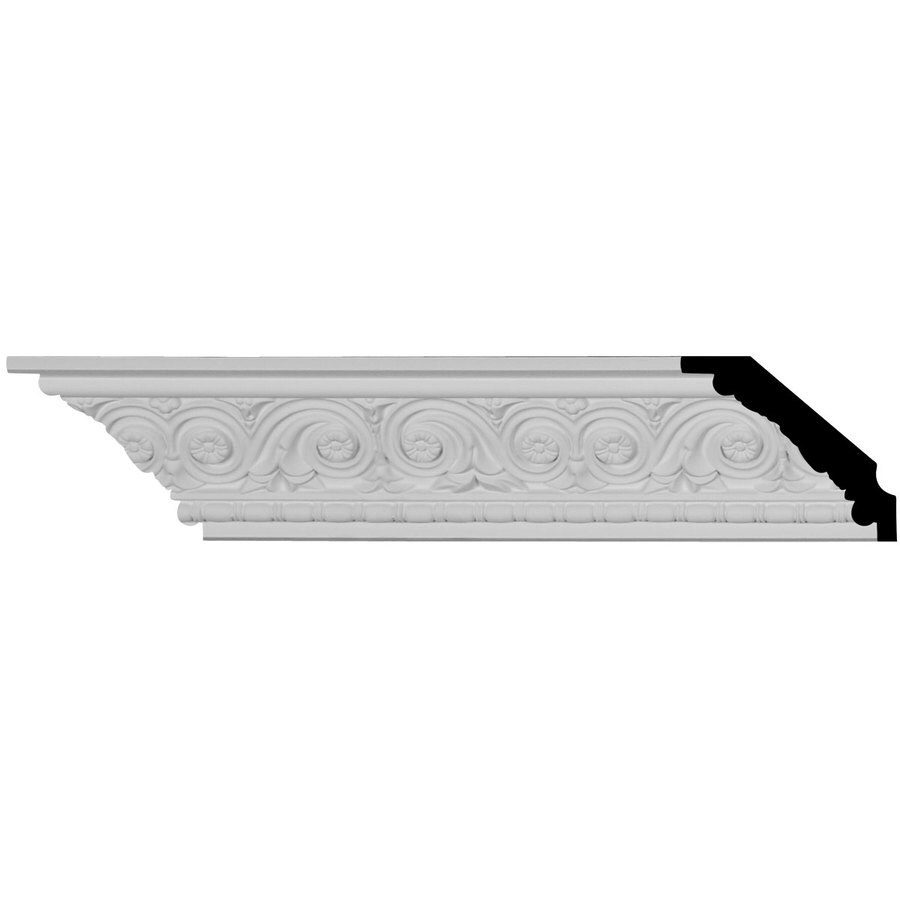 Ekena Millwork 2.75-in x 7.875-ft Primed Urethane Floral Crown Moulding
