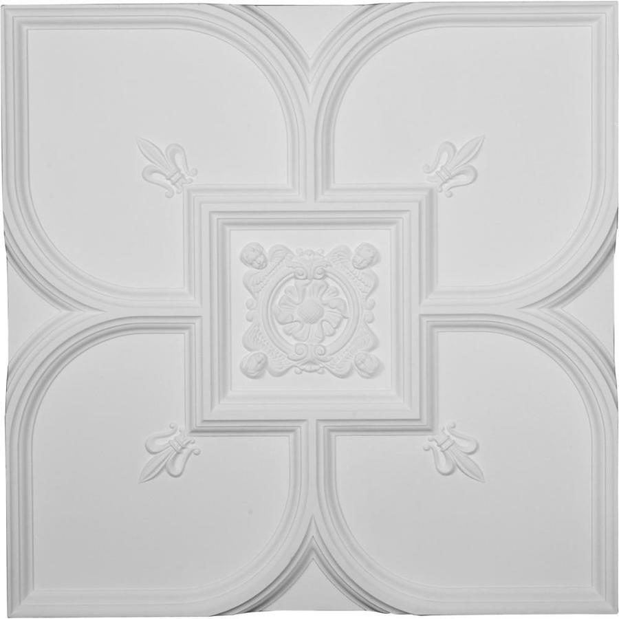 Ekena Millwork (Common: 30-in x 30-in; Actual: 31.5-in x 31.5-in) Fleur-De-Lis White Patterned Drop Ceiling Tiles