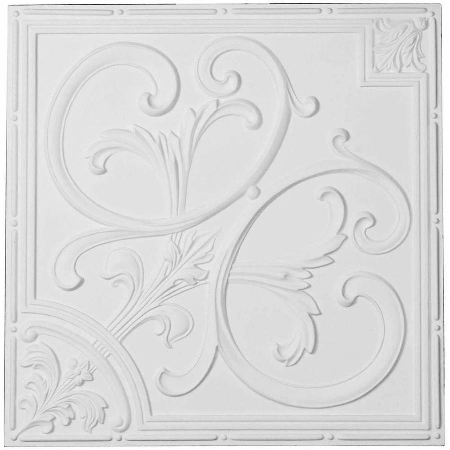 Ekena Millwork (Common: 24-in x 24-in; Actual: 24-in x 24-in) Odessa White Patterned Drop Ceiling Tiles