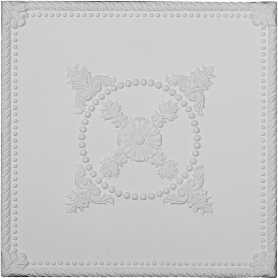 Ekena Millwork Alexandria Primed Patterned 3/4-in Drop Ceiling Tiles (Common: 24-in x 24-in; Actual: 24-in x 24-in)