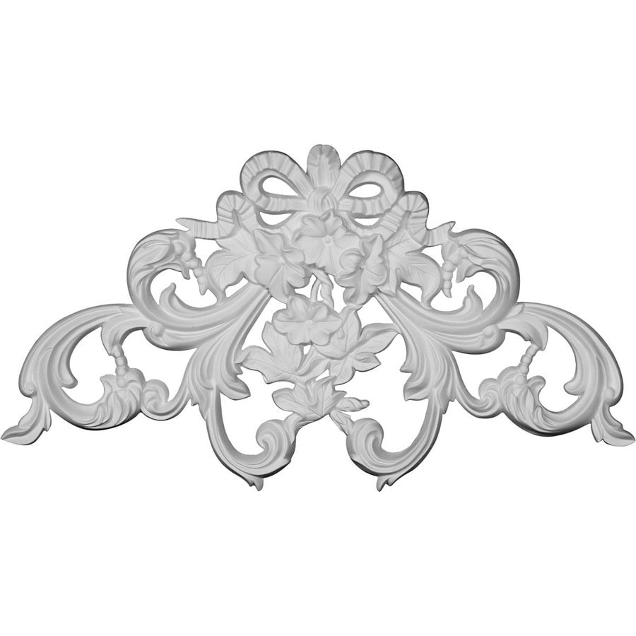 Ekena Millwork Rose and Ribbon 22.125-in x 12-in Rose And Ribbon Primed Urethane Applique