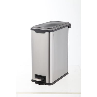 8-Liter Stainless Steel Steel Commercial Trash Can with Lid