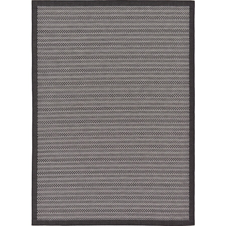 Checked Black Grey Rug: Unique Loom Checkered Outdoor Gray/Black Indoor/Outdoor