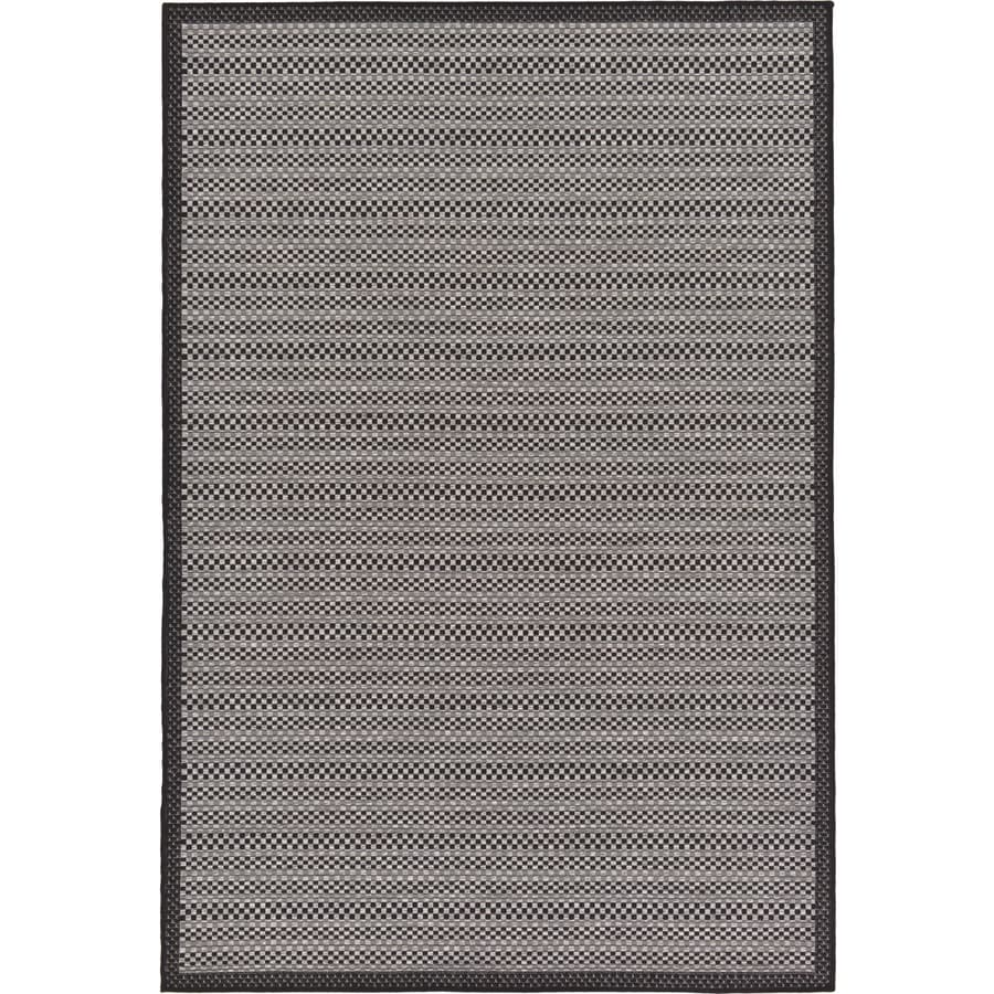Checked Black Grey Rug: Unique Loom CheckeRed Outdoor Gray/Black Rectangular