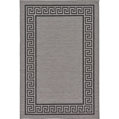 Unique Loom Greek Key Outdoor Gray Black Rectangular Indoor