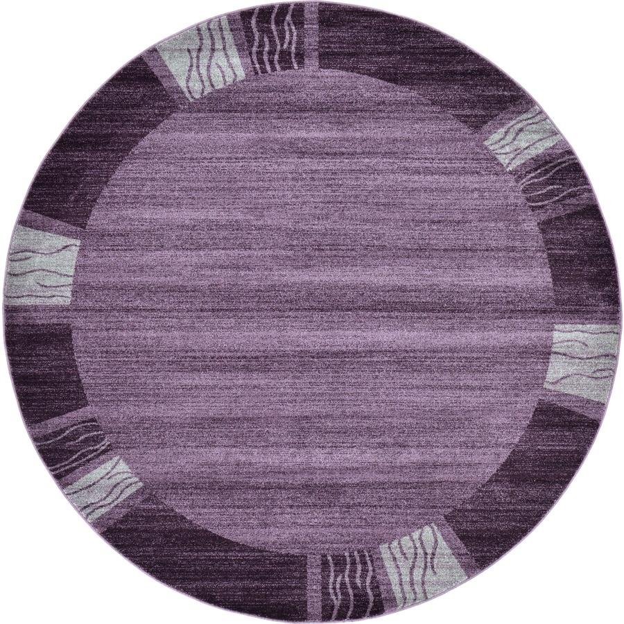 Unique Loom Sarah Del Mar Purple Round Indoor Distressed Area Rug