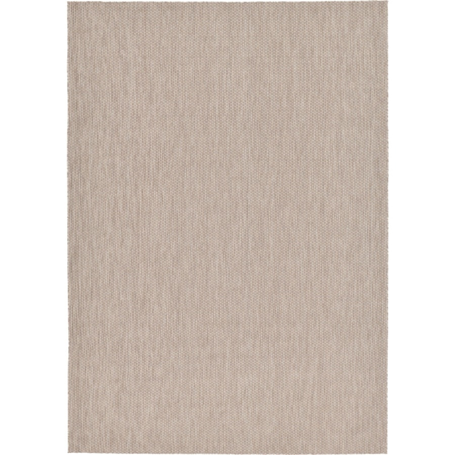 Unique Loom Solid Outdoor 8 X 11 Beige Gray Indoor Outdoor Distressed Overdyed French Country Area Rug In The Rugs Department At Lowes Com