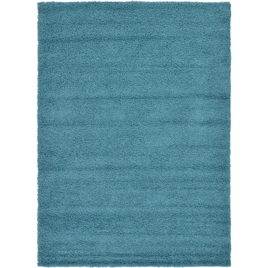Unique Loom Solid Shag Deep Aqua Indoor Area Rug (Common