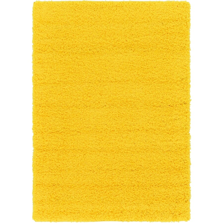 Unique Loom Solid Shag 4 X 6 Tuscan Sun Yellow Indoor Solid Area Rug In The Rugs Department At Lowes Com