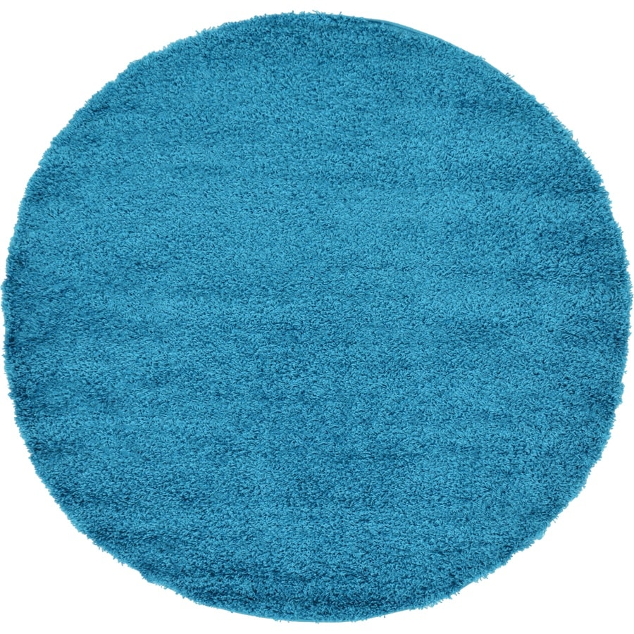 Unique Loom Solid Shag Turquoise Round Indoor Area Rug
