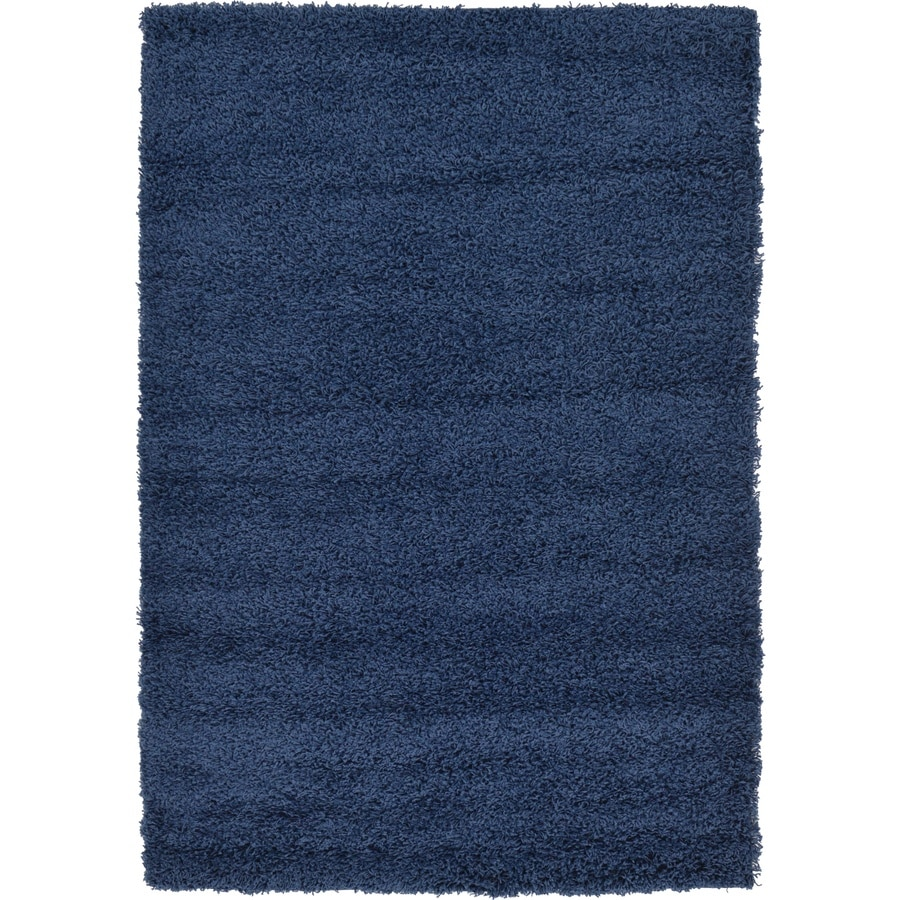 Unique Loom Solid Shag 4 X 6 Navy Blue Indoor Solid Area Rug In The Rugs Department At Lowes Com