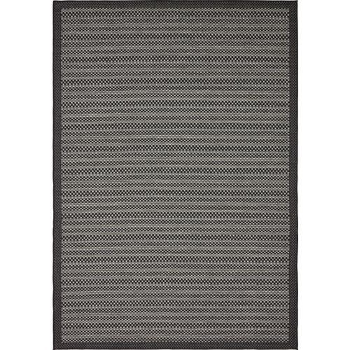 Unique Loom Checkered Outdoor Gray Black Rectangular