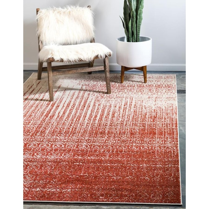 Unique Loom Jennifer Del Mar 10 X 13 Red Ivory Indoor