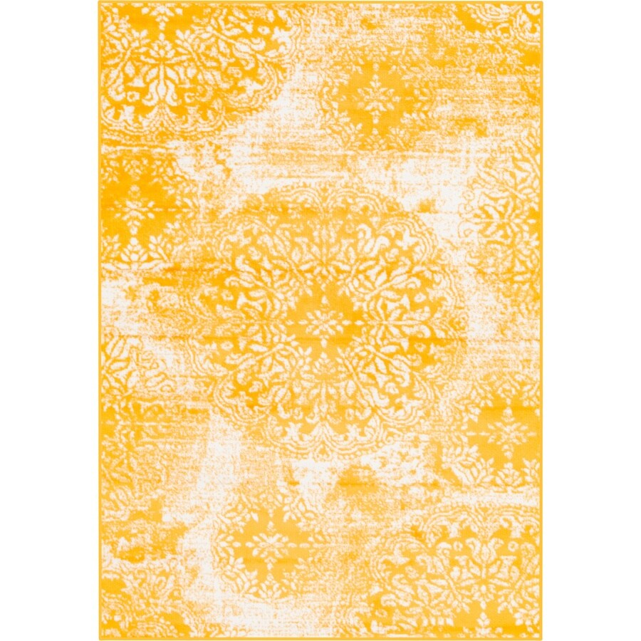 e2158196ff6 Unique Loom Grand Sofia Yellow White Indoor Vintage Area Rug (Common  4 x  6  Actual  4-ft W x 6-ft L)