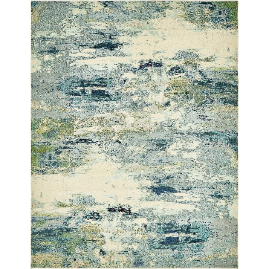 Unique Loom Avalon Chromatic Light Blue Indoor Distressed Area Rug Common 8 X 10 Actual Ft W L