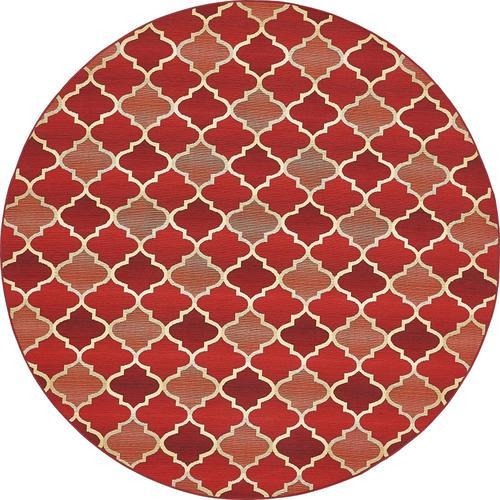 Unique Loom Eden Trellis Outdoor Red Beige Round Indoor