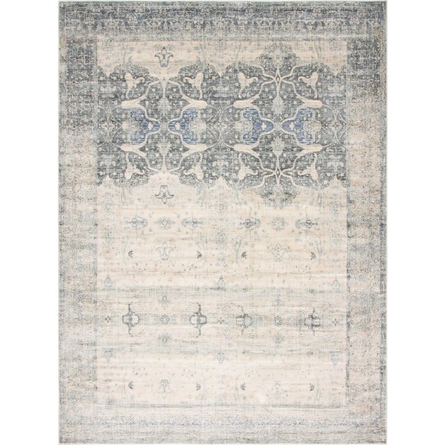 Unique Loom Barrington Asheville 9 X 12 Gray Beige Indoor Floral Botanical Vintage Area Rug In The Rugs Department At Lowes Com