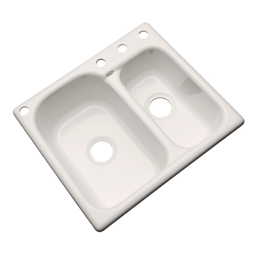 Dekor Master 22-in x 25-in Natural Double-Basin Acrylic Drop-in 4-Hole Residential Kitchen Sink