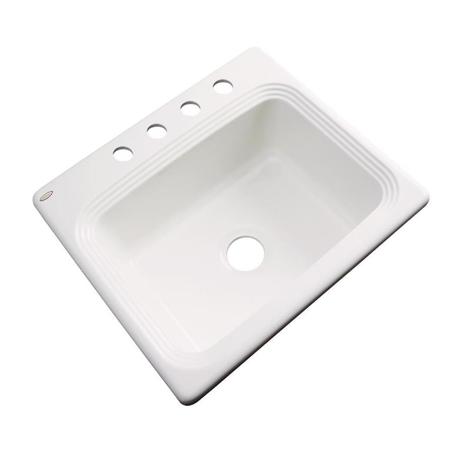 Dekor Master 22-in x 25-in Biscuit Single-Basin Acrylic Drop-in 4-Hole Residential Kitchen Sink