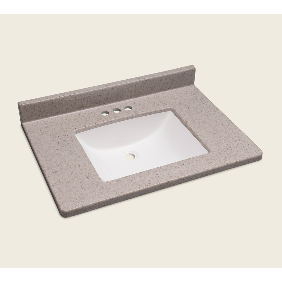 Style Selections Vanity Natural Cultured Marble Integral Single Sink Bathroom Vanity Top (Actual: 31-in x 22-in)