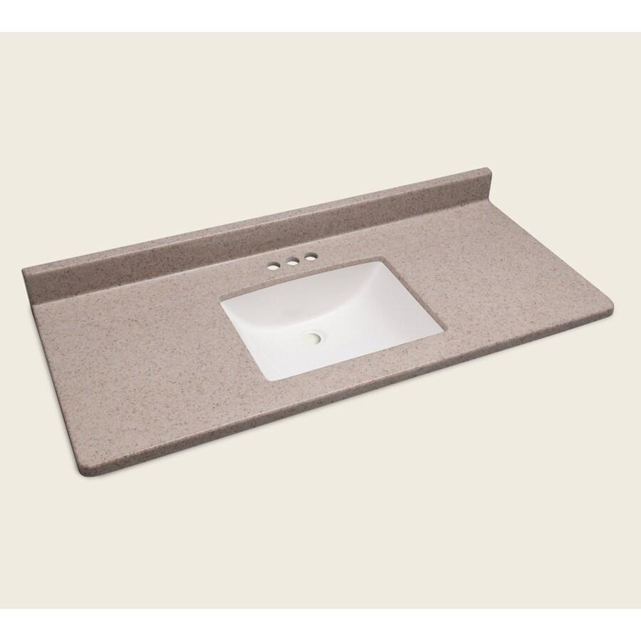 Style Selections Vanity Natural Cultured Marble Integral Single Sink Bathroom Vanity Top (Actual: 49-in x 22-in)