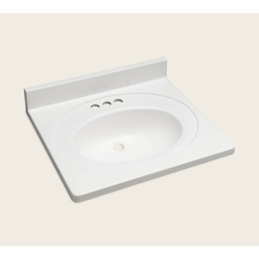 Style Selections Vanity White Cultured Marble Integral Single Sink Bathroom Top Actual 25