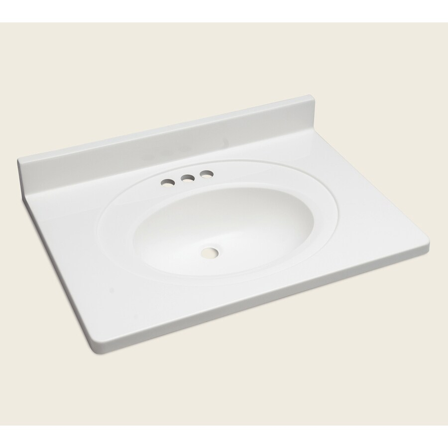 Style Selections Vanity White Cultured Marble Integral Single Sink Bathroom Vanity Top (Actual: 31-in x 22-in)