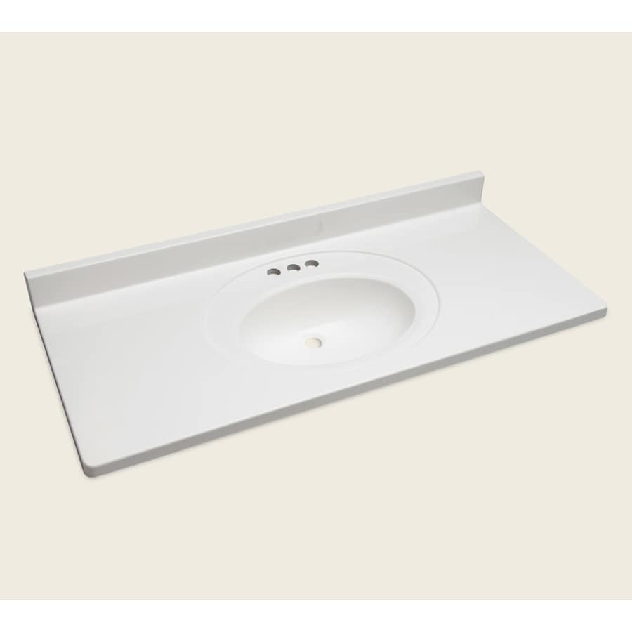 Style Selections Vanity White Cultured Marble Integral Single Sink Bathroom Top Actual 49