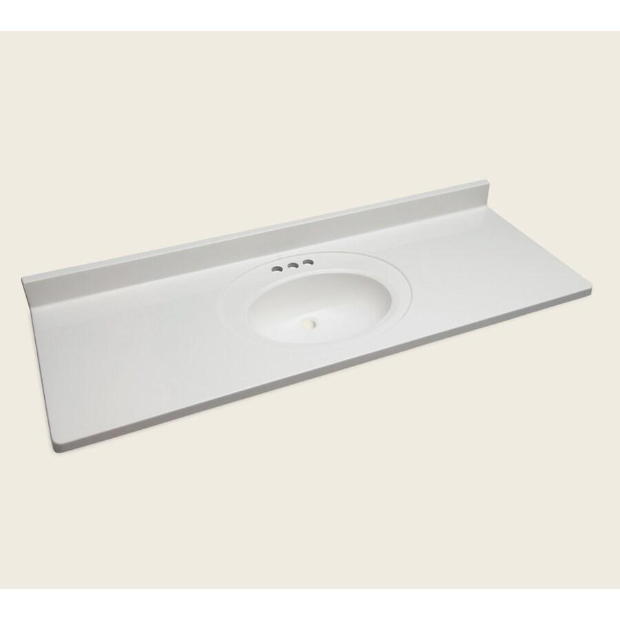 Style Selections Vanity White Cultured Marble Integral Single Sink Bathroom Vanity Top (Actual: 61-in x 22-in)