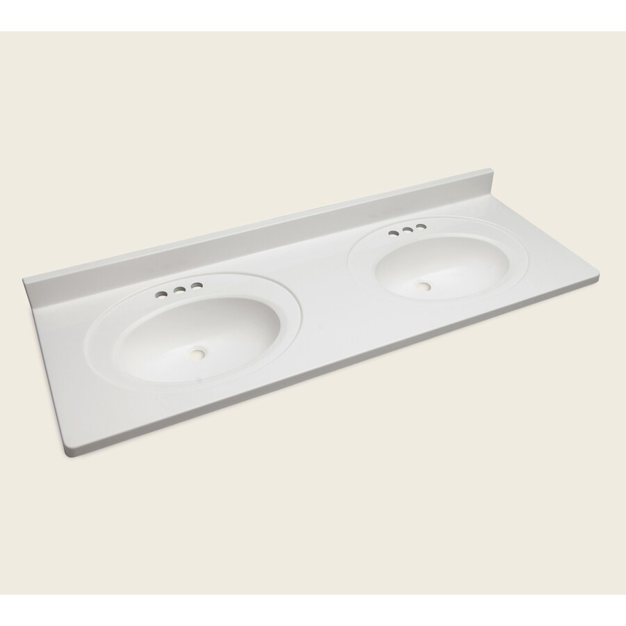 Style Selections Vanity White Cultured Marble Integral Double Sink Bathroom Top Actual 61