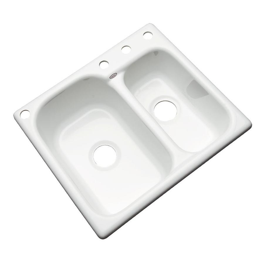 Dekor Master 22-in x 25-in White Double-Basin Acrylic Drop-in 4-Hole Residential Kitchen Sink