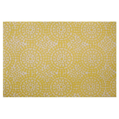 Yellow White Rectangular Indoor Outdoor Machine Made Area Rug Common 6 X 9 Actual 5 92 Ft W L