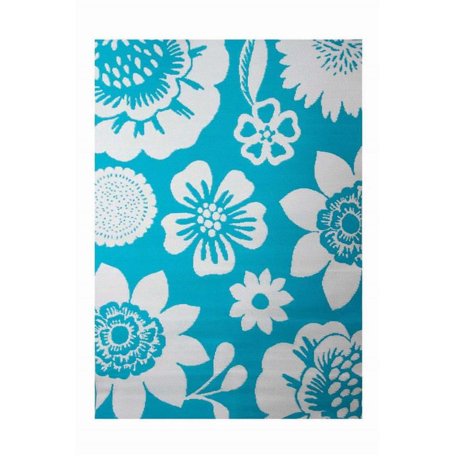 Garden Treasures Turquoise Rectangular Indoor/Outdoor Machine-Made Tropical Area Rug (Common: 5 x 7; Actual: 5.3-ft W x 7.7-ft L x 0.39-ft Dia)
