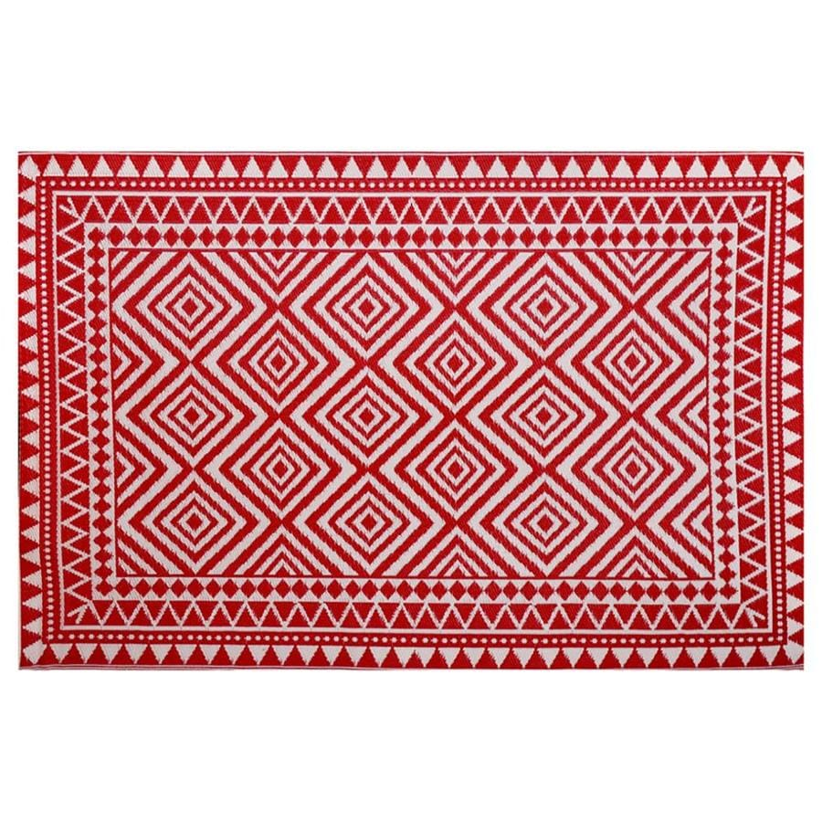 Garden Treasures Red Rectangular Indoor Outdoor Woven Area Rug