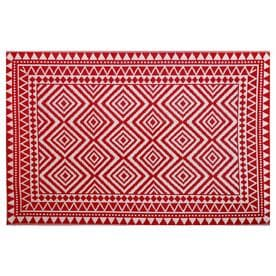 Garden Treasures Red Rectangular Indoor Outdoor Woven Area Rug Common 5 X 7