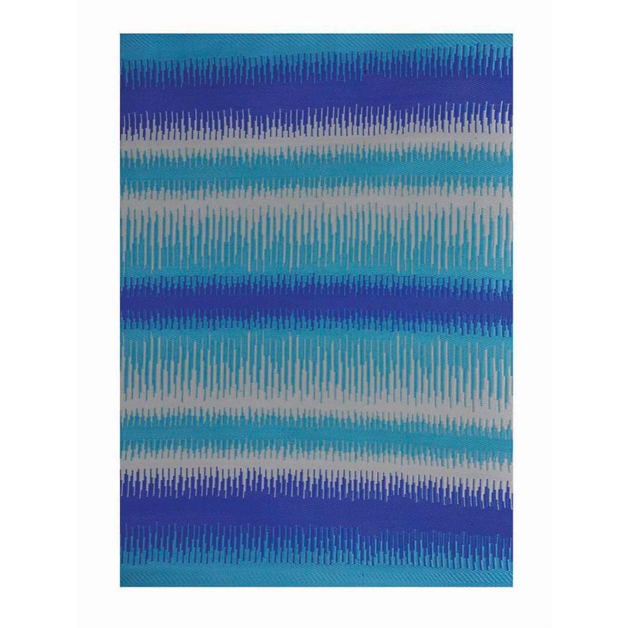 Garden Treasures Blue Rectangular Indoor/Outdoor Woven Area Rug (Common: 5 x 7; Actual: 63-in W x 91-in L x 4.7-ft Dia)