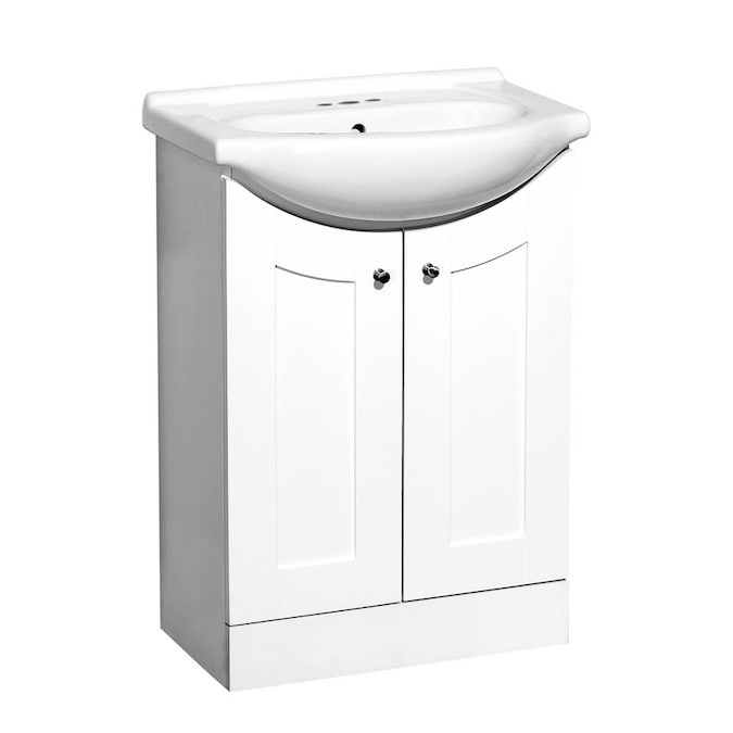 White Shaker Euro Va In The Bathroom, Shallow Depth Bathroom Sinks