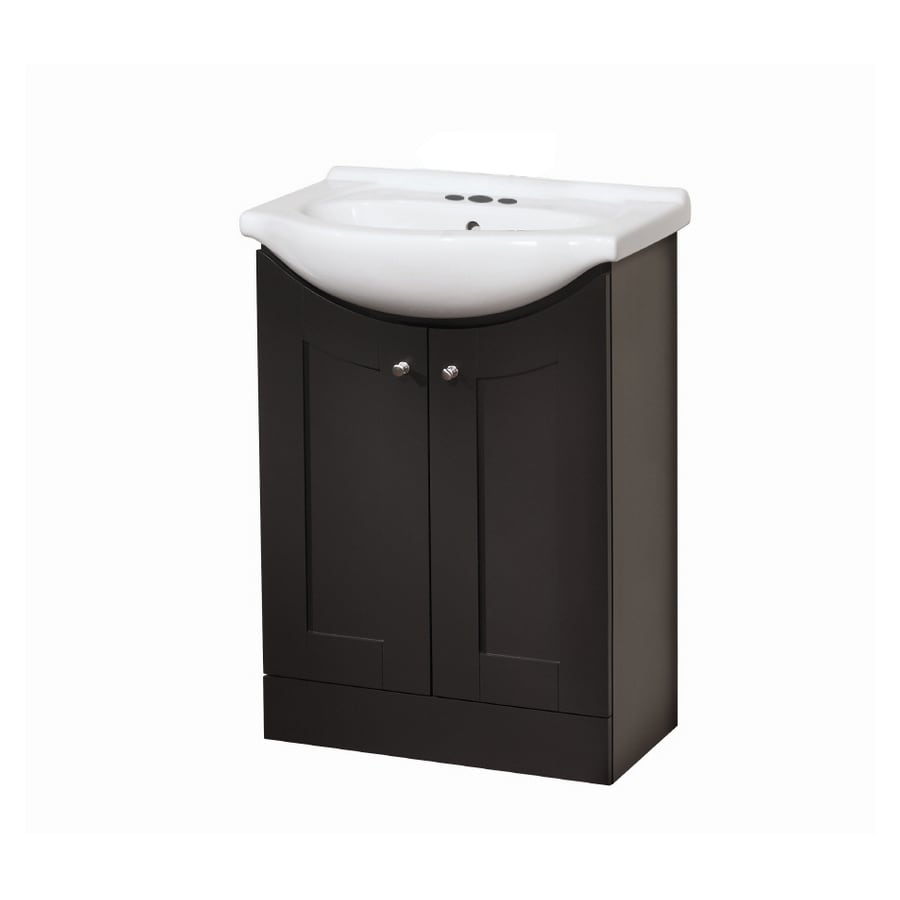Vanities For Small Bathrooms Lowes Style Selections Euro Vanity Espresso Belly Sink Single Sink Bathroom Vanity  with Vitreous China Top (Common: 24-in x 17-in; Actual: 24-in x 17-in)