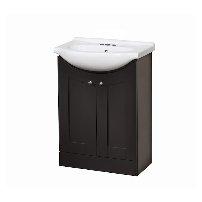 Style Selections Euro Vanity Espresso Belly Sink Single Sink Bathroom Vanity With Vitreous China Top Common 24 In X 17 In Actual 24 In X 17 In In The Bathroom Vanities With Tops Department At Lowes Com