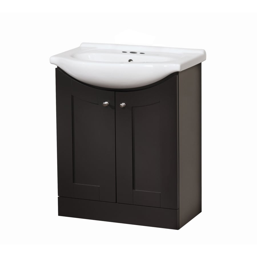 Style Selections Euro Vanity Espresso Belly Sink Single Sink Bathroom Vanity with Vitreous China Top (Common: 30-in x 17-in; Actual: 30-in x 19-in)
