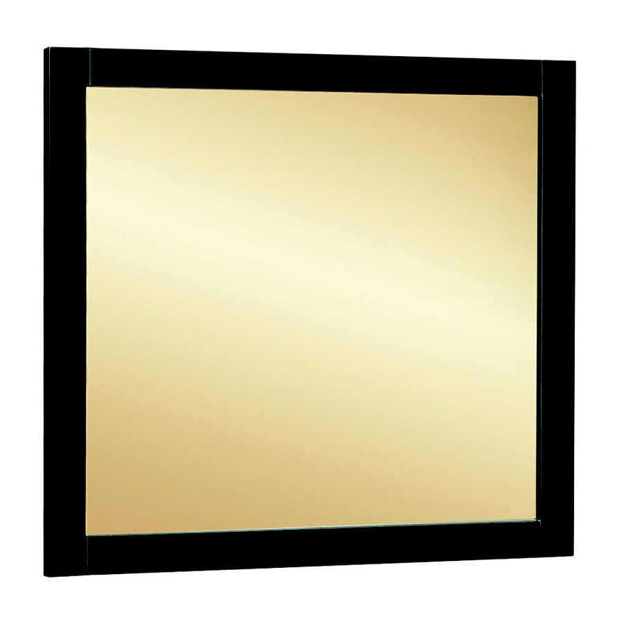 Style Selections Euro Style 30-in W x 30-in H Espresso Rectangular Bathroom Mirror