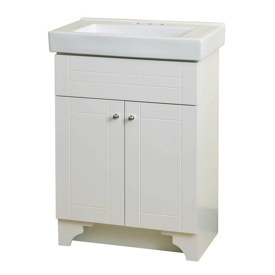 Bon Style Selections White Integral Single Sink Bathroom Vanity With Vitreous  China Top (Common: 24