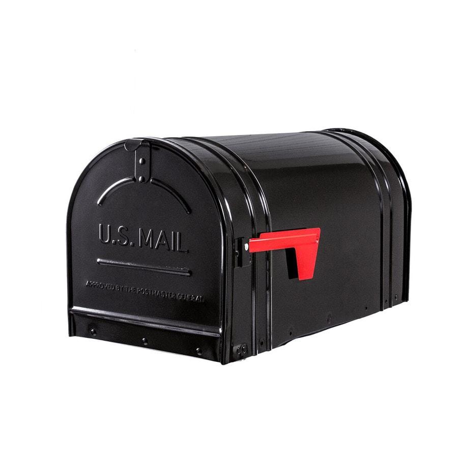 Postal Pro Remington 11.25-in x 12-in Metal Black Lockable Post Mount Mailbox
