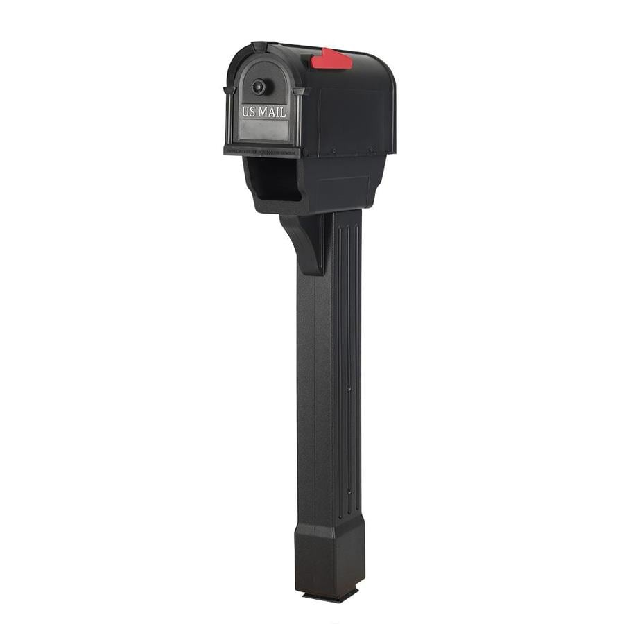Postal Pro Hampton 7.75-in x 52-in Plastic Black Post Mount Mailbox with Post