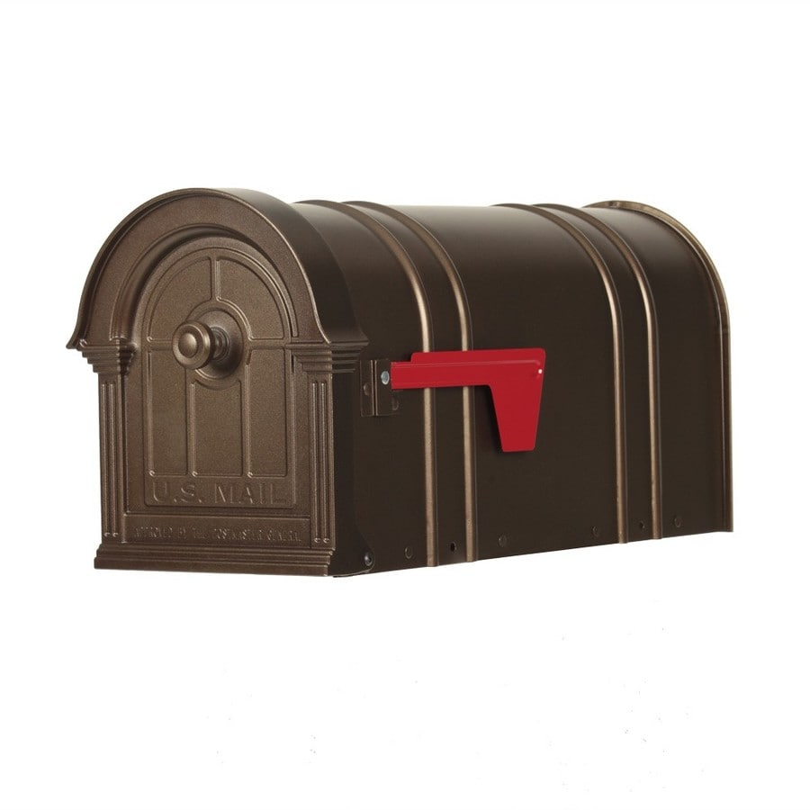 Postal Pro The Manchester 9 875 In W X 11 H Metal Bronze Post Mount Mailbox
